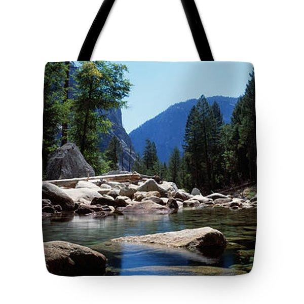 Mountain Behind Pine Trees, Tenaya Tote Bag