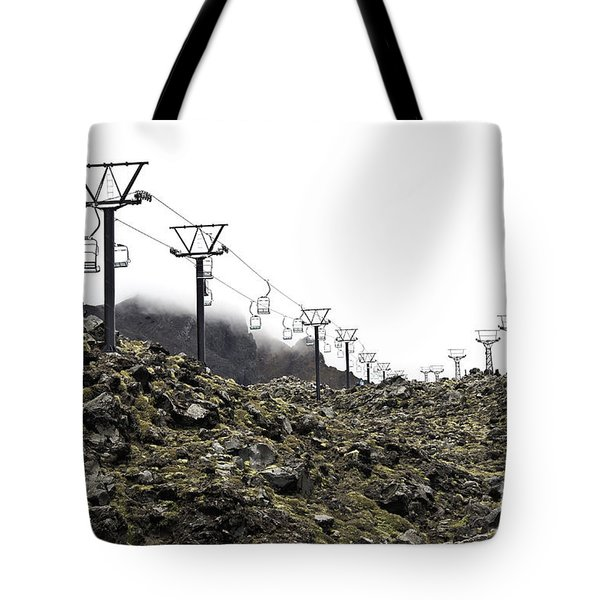 Mountain Cable Road Waiting For Snow. Mount Ruapehu. New Zealand Tote Bag by Yurix Sardinelly