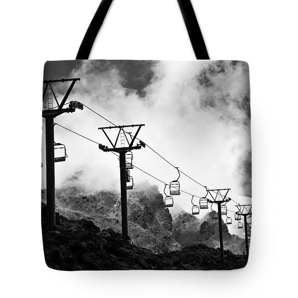 Mountain Cable Road Waiting For Snow Tote Bag