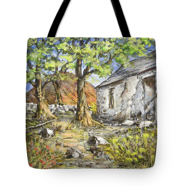 Mountain Cottage Tote Bag by Marty Garland