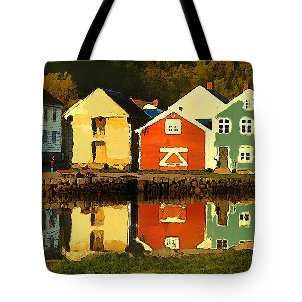 Tote Bag featuring the digital art Mountain Cottages Reflected by Shelli Fitzpatrick