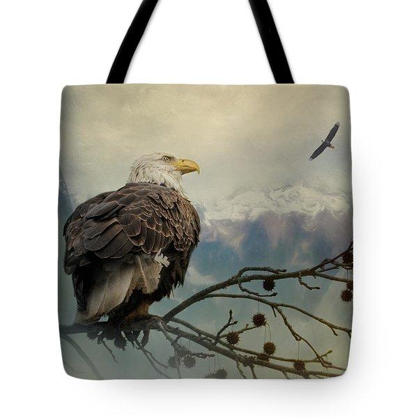 Mountain Dreams Bald Eagle Art Tote Bag