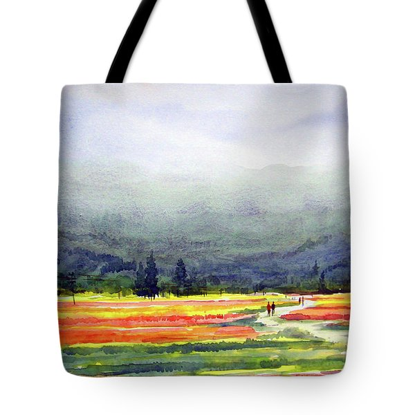 Tote Bag featuring the painting Mountain Flowers Valley by Samiran Sarkar