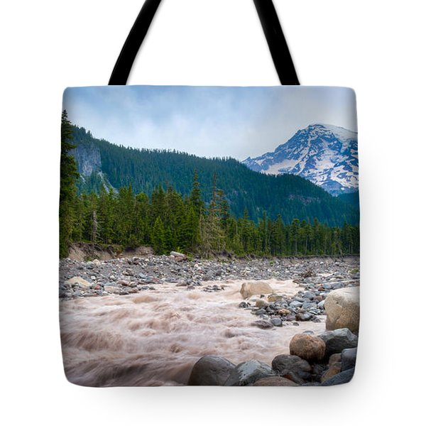 Mountain Glacier River Tote Bag by Chris McKenna