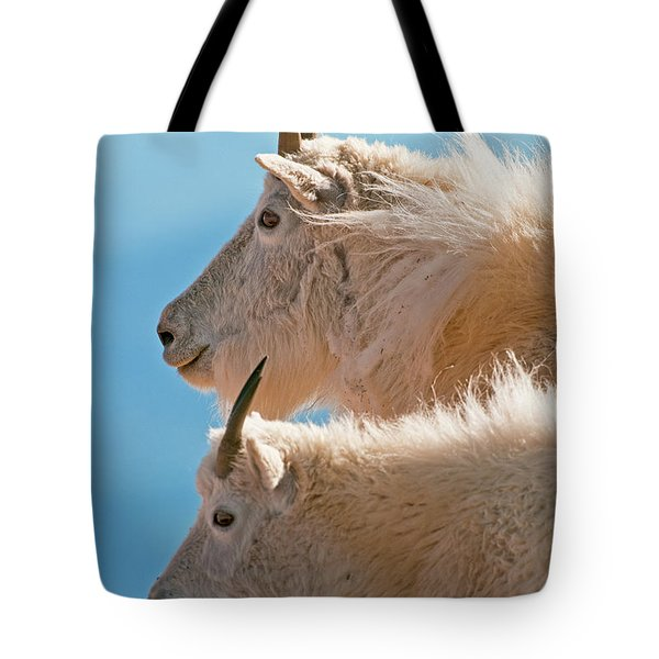 Tote Bag featuring the photograph Mountain Goats by Gary Lengyel