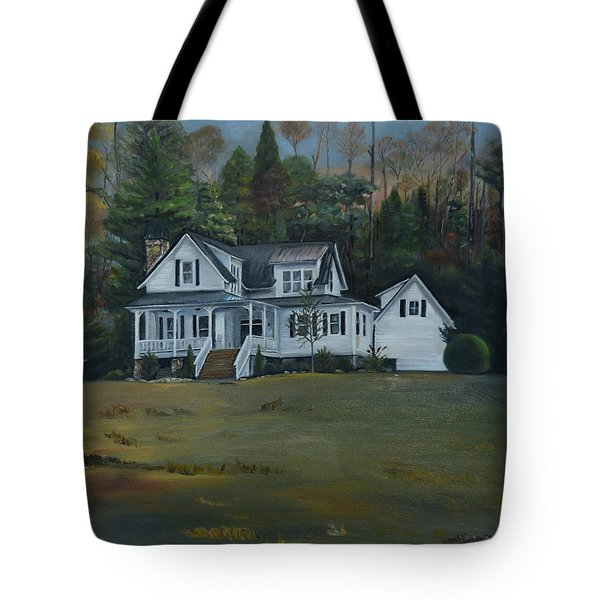 Tote Bag featuring the painting  Mountain Home At Dusk by Jan Dappen