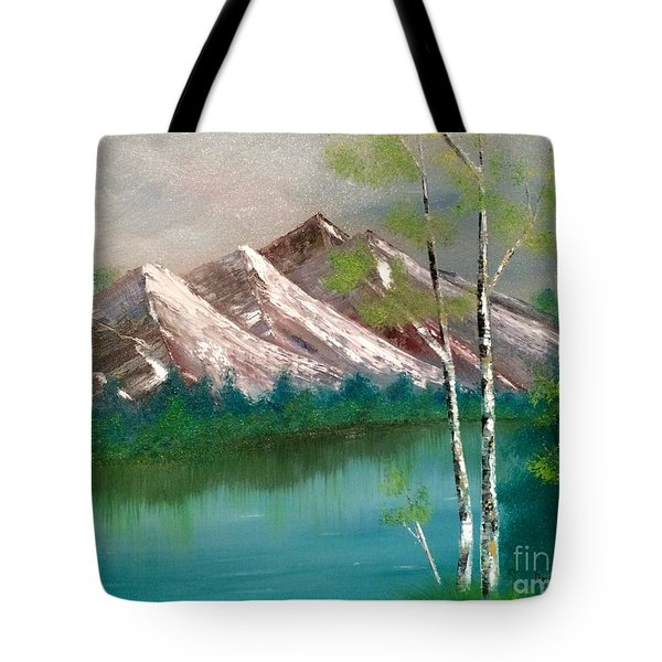Tote Bag featuring the painting Mountain Lake by Denise Tomasura