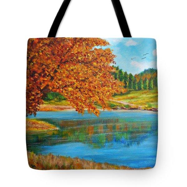 Mountain Lake In Greece Tote Bag