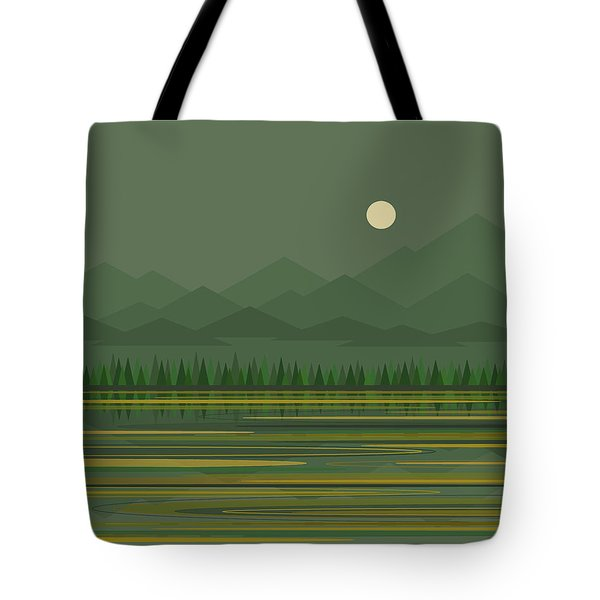 Tote Bag featuring the digital art Mountain Lake Moon by Val Arie