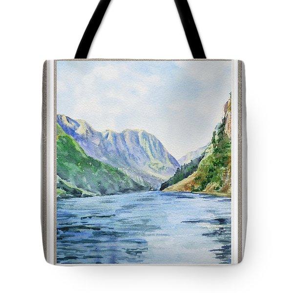 Mountain Lake View Window  Tote Bag