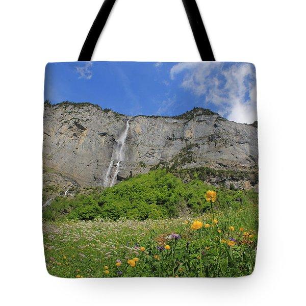 Mountain Landscape, Spring, Switzerland Tote Bag