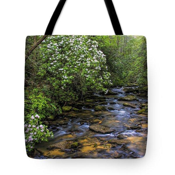 Mountain Laurels Light Up Panther Creek Tote Bag