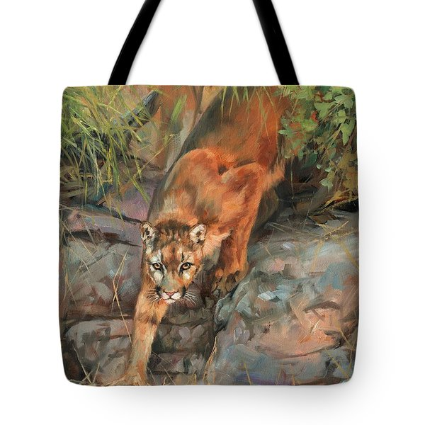 Tote Bag featuring the painting Mountain Lion 2 by David Stribbling