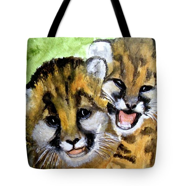 Mountain Lion Cubs Tote Bag