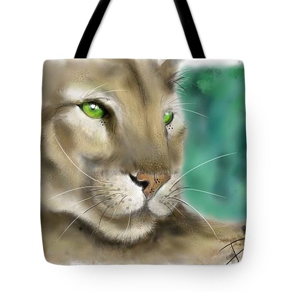 Tote Bag featuring the digital art Mountain Lion by Darren Cannell