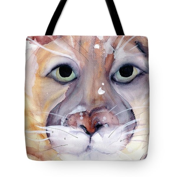 Tote Bag featuring the painting Mountain Lion by Dawn Derman