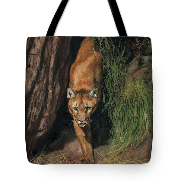 Tote Bag featuring the painting Mountain Lion Emerging From Shadows by David Stribbling