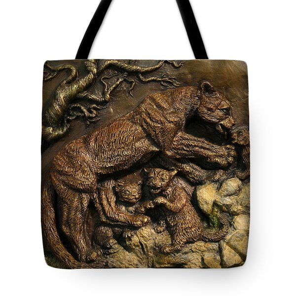 Tote Bag featuring the sculpture Mountain Lion Mother With Cubs by Dawn Senior-Trask