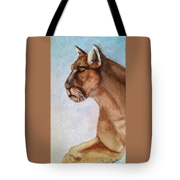 Mountain Lion Tote Bag by Rand Swift