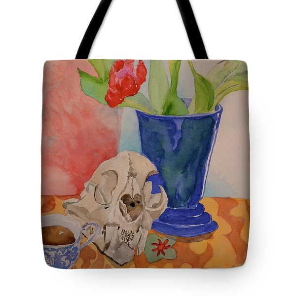 Tote Bag featuring the painting Mountain Lion Skull Tea And Tulips by Beverley Harper Tinsley