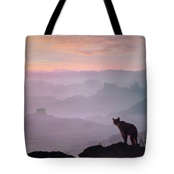 Mountain Lion Tote Bag by Tim Fitzharris