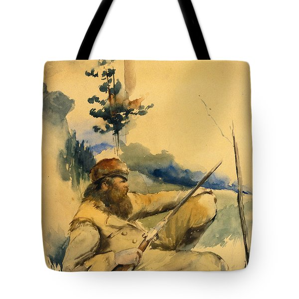 Tote Bag featuring the drawing Mountain Man by Charles Schreyvogel