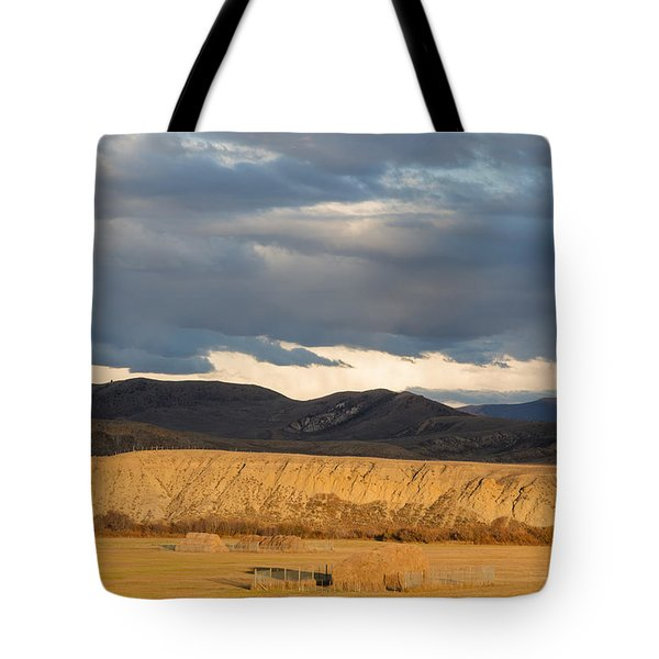 Mountain Meadow And Hay Bales In Grand County Tote Bag by Carol M Highsmith