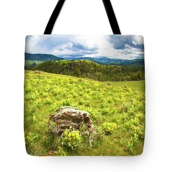 Mountain Meadow Impressionist Digital Art Tote Bag