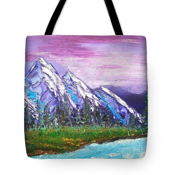Mountain Meadow Landscape Scene Tote Bag