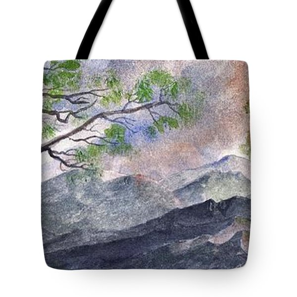 Tote Bag featuring the digital art Mountain Morning by Terry Cork