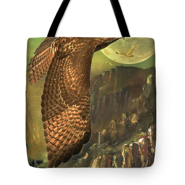 Mountain Of The Hawks Tote Bag by Wingsdomain Art and Photography
