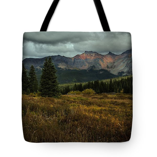 Mountain Peaks In The Clouds Tote Bag