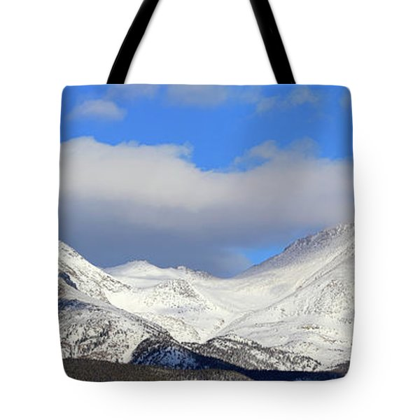 Tote Bag featuring the photograph Mountain Peaks - Panorama by Shane Bechler