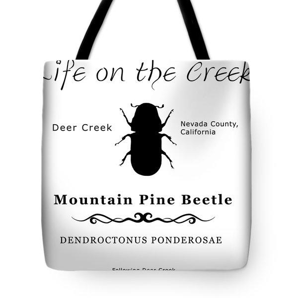 Mountain Pine Beetle Black On White Tote Bag