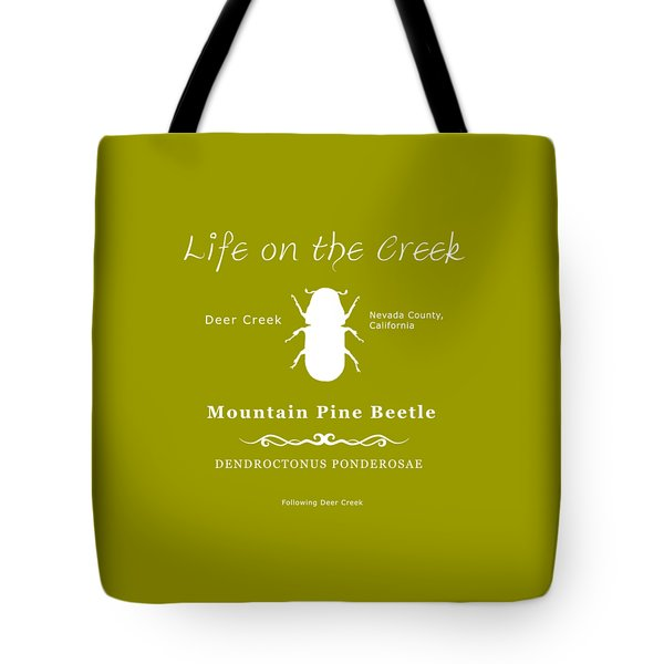 Mountain Pine Beetle White On Black Tote Bag