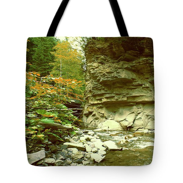 Mountain River With A Stone Wall And A Small Bridge Tote Bag