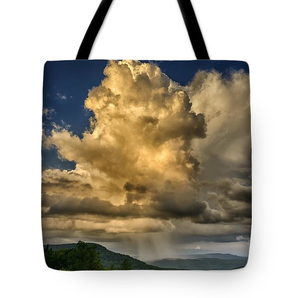 Mountain Shower And Storm Clouds Tote Bag
