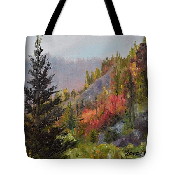 Mountain Slope Fall Tote Bag by Lori Brackett