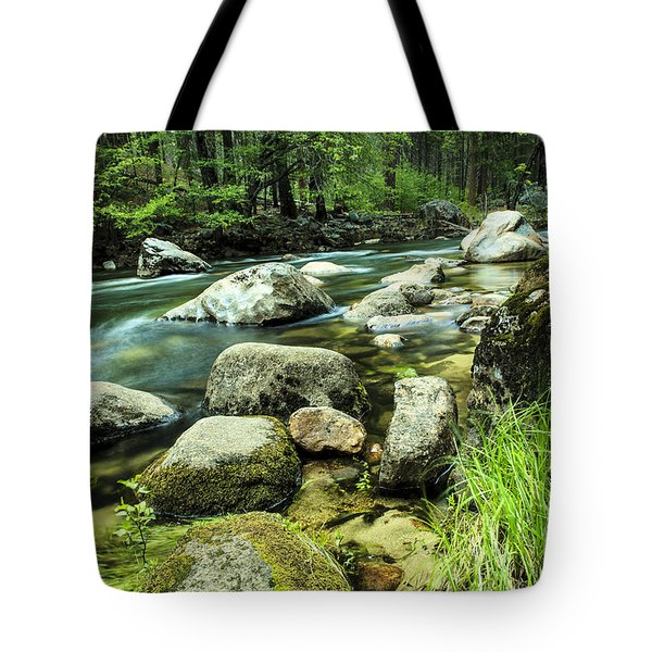 Mountain Stream In Yosemite Tote Bag