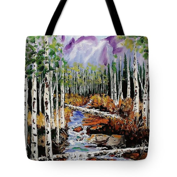 Mountain Stream Tote Bag by Mike Caitham