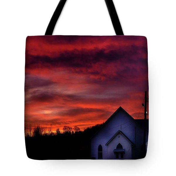 Tote Bag featuring the photograph Mountain Sunrise And Church by Thomas R Fletcher