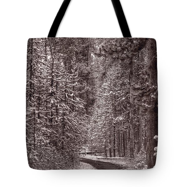 Mountain Trail Yellowstone Bw Tote Bag by Steve Gadomski