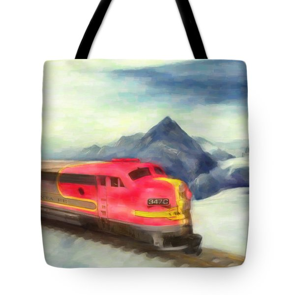 Mountain Train Tote Bag by Michael Cleere