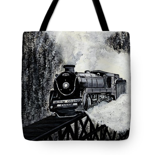 Mountain Train Tote Bag
