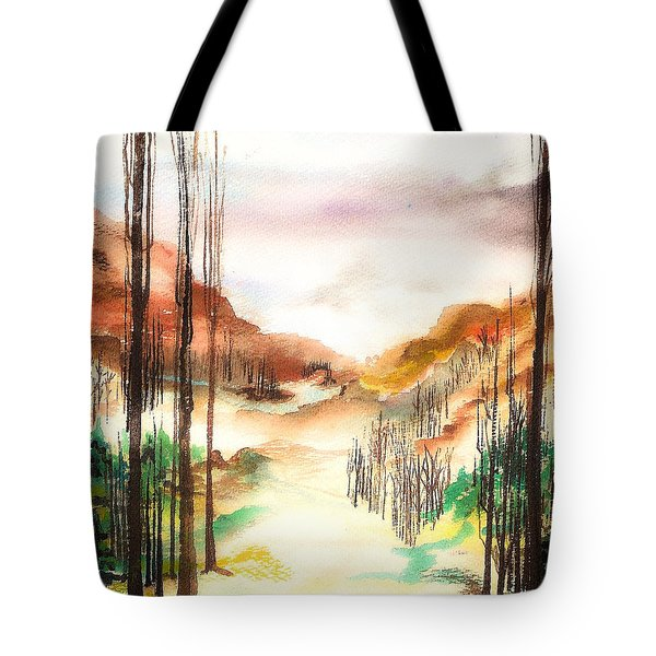 Tote Bag featuring the painting Mountain Valley by Ellen Canfield