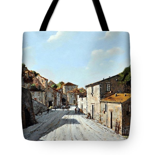 Tote Bag featuring the painting Mountain Village Main Street by Rosario Piazza