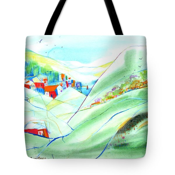 Mountain Village Tote Bag by Mary Armstrong