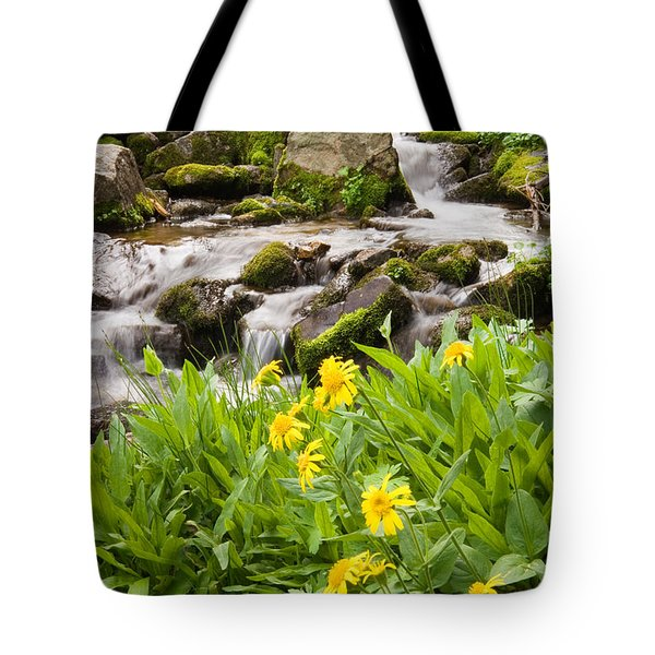 Mountain Waterfall And Wildflowers Tote Bag