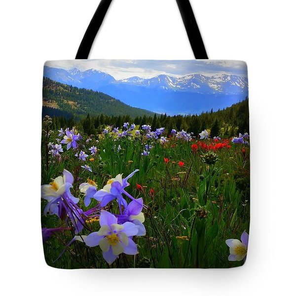 Mountain Wildflowers Tote Bag by Karen Shackles
