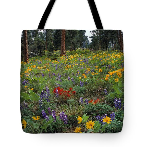 Mountain Wildflowers Tote Bag by Leland D Howard
